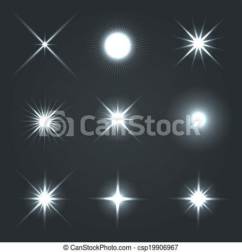 Light Glow Flare Stars Effect Set. - csp19906967