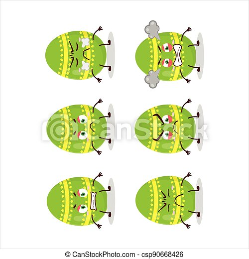 Light green easter egg cartoon character with various angry expressions - csp90668426