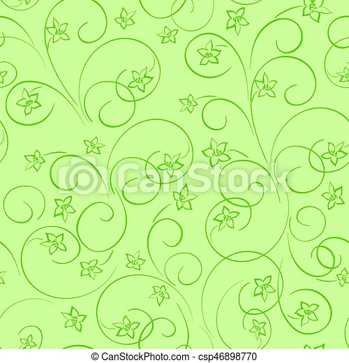 Light Green Floral Background Vector Seamless Pattern With Flowers