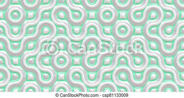Light Green Grey Seamless Truchet Tilling Background. Geometric Mosaic Connections Texture. Tile Circles Labyrinth Backdrop. - csp81133009