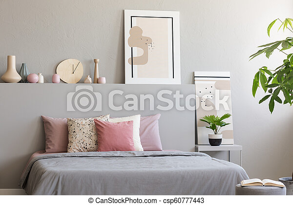 Light Grey Bedroom Interior With King Size Bed With Many Cushions Simple Posters And Decor In The Real Photo Canstock