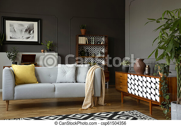 Light Grey Sofa With Blanket And Pillows Standing In Real Photo Of Open Space Sitting Room Interior With Wainscoting On Wall Canstock