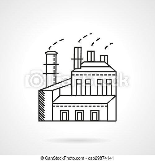 Light industry factory line vector icon on