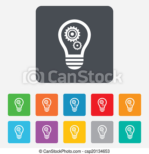 Light lamp sign icon. Bulb with gears symbol. - csp20134653