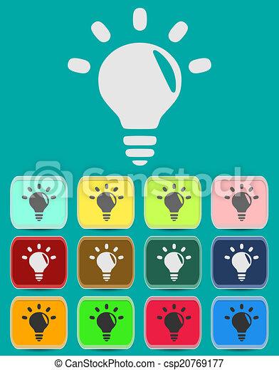 Light lamp sign icon. Idea symbol. Light is on. - csp20769177