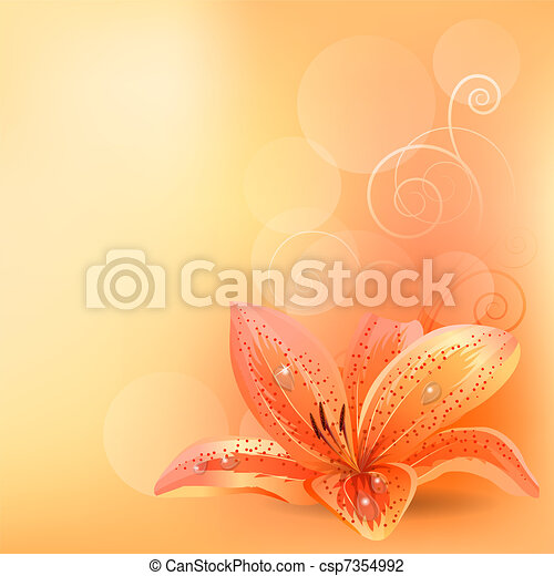 Light pastel background with orange lily - csp7354992