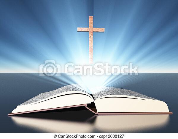 Light radiates from bible under cross - csp12008127