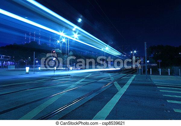 Light rail, a kind of transportation in Hong Kong. - csp8539621