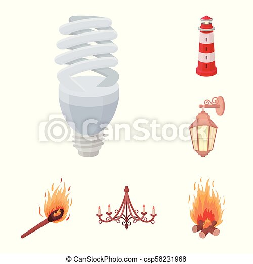 Light source cartoon icons in set collection for design. Light and equipment vector symbol stock web illustration. - csp58231968