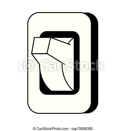 Light switch isolated cartoon symbol in black and white on symbol for headlight, symbol for fuel tank, symbol for faucet, symbol for distributor, symbol for screw, symbol for remote control, symbol for condenser, symbol for button, symbol for cable, symbol for brake, symbol for light resistor, symbol for frame, symbol for grill, symbol for tachometer, symbol for hammer, symbol for fluorescent light, symbol for muffler, symbol for electric outlet, symbol for pilot light, symbol for wall light,