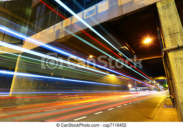 light trails in city at night - csp7116452