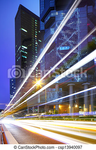 light trails in city at night - csp13940097