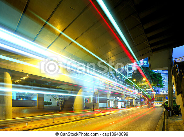 light trails in city at night - csp13940099