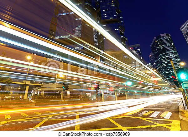 light trails in city at night - csp7358969