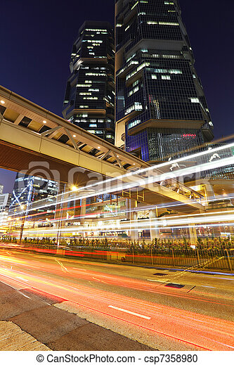 light trails in city at night - csp7358980
