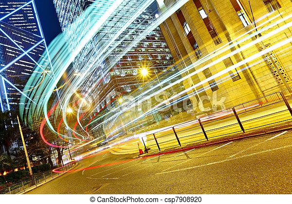 light trails in modern city - csp7908920
