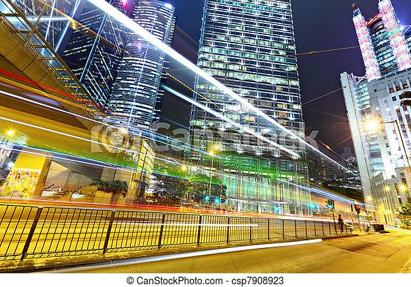 light trails in modern city - csp7908923