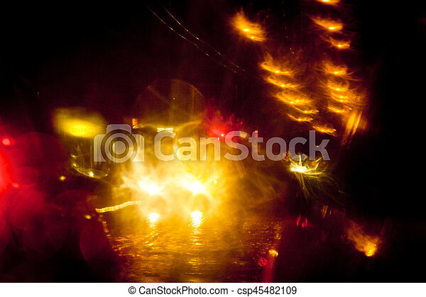 Light trails on a city street at night - csp45482109