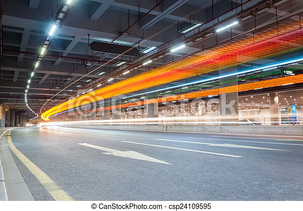 light trails on city road  - csp24109595