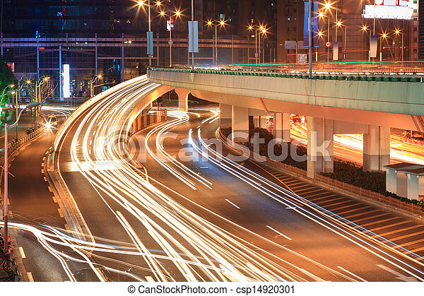 light trails on the viaduct ramp - csp14920301