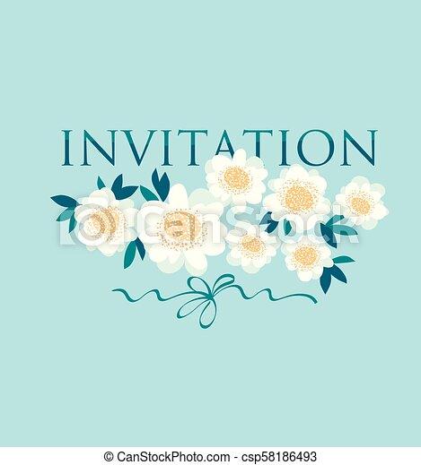Light White Decorative Camellia Flowers Wedding Template Stylized Daisy On Sky Blue Background Vector Illustration