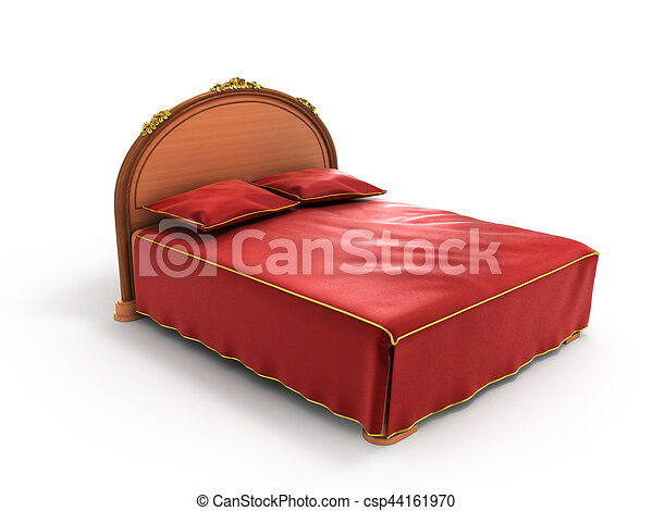 Light wooden bed with a red bed isolated on white background.