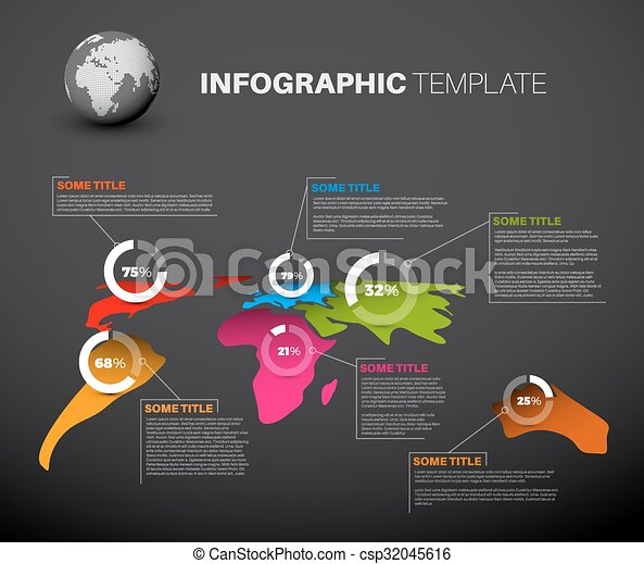 Light world map with pie charts light world map infographic light world map with pie charts csp32045616 gumiabroncs Images