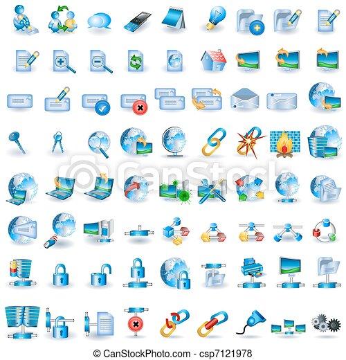 Lightblue Netzwerk Icons - csp7121978