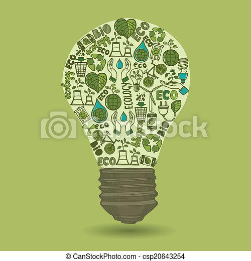 lightbulb , σπατάλη , δραμάτιο , οικολογία , απεικόνιση  - csp20643254