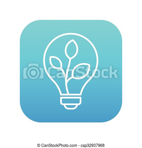 lightbulb, 植物, 線, 中, icon. - csp32937968