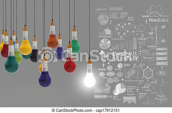lightbulb, 鉛筆, 概念, ビジネス, 創造的, デザイン, 3d - csp17912151