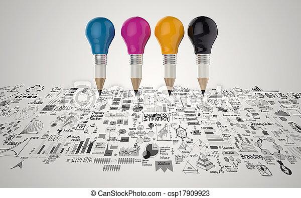 lightbulb, 鉛筆, 概念, ビジネス, 創造的, デザイン, 3d - csp17909923