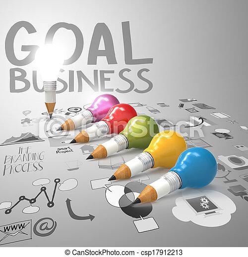 lightbulb, 鉛筆, 概念, ビジネス, 創造的, デザイン, 3d - csp17912213