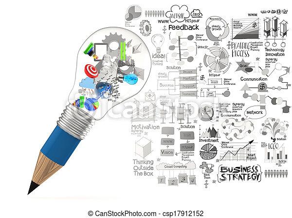 lightbulb, 铅笔, 概念, 商业, 创造性, 设计, 策略, 3d - csp17912152