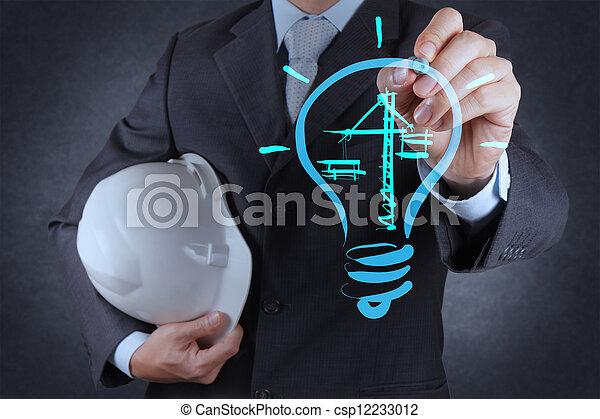 lightbulb, bauzeichnung, ingenieur - csp12233012