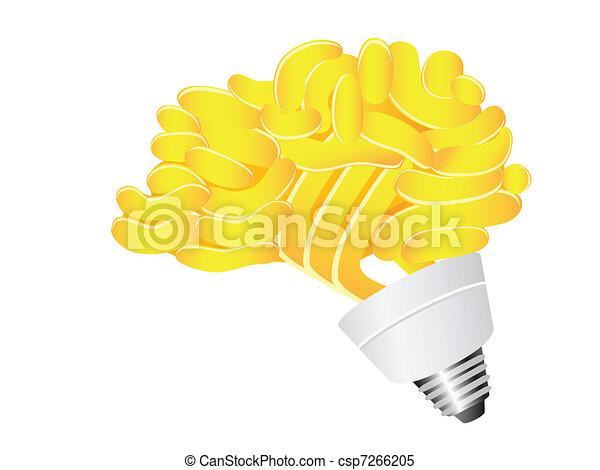 lightbulb, cérebro, energia, poupar - csp7266205