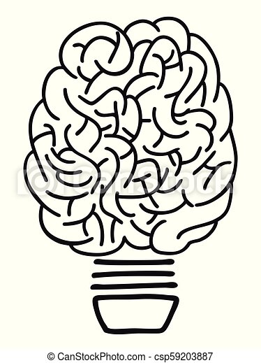 lightbulb, doodle, esboço, cérebro - csp59203887