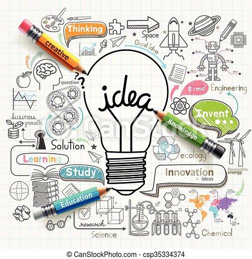 lightbulb, icônes concept, set., idées, doodles - csp35334374