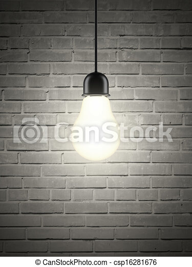 lightbulb on brick wall - csp16281676