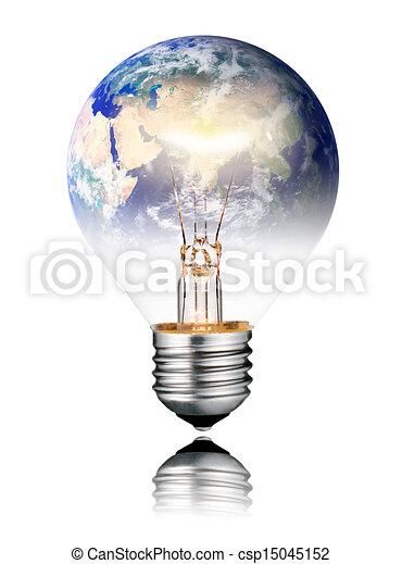 Lightbulb switched ON - World Globe Asia - csp15045152