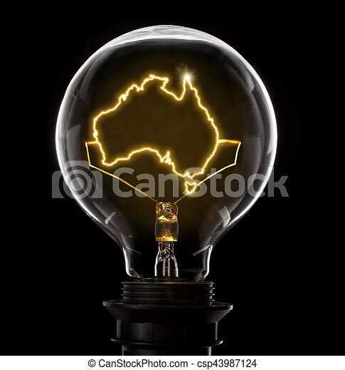 Terrific Lightbulb With A Glowing Wire In The Shape Of Australia Series Wiring Digital Resources Jonipongeslowmaporg