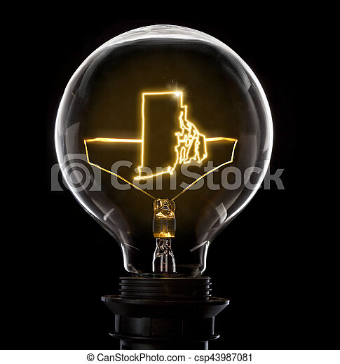 Brilliant Lightbulb With A Glowing Wire In The Shape Of Rhode Island Series Wiring Database Indigelartorg