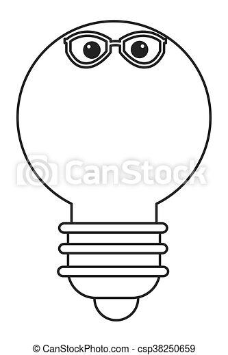 lightbulb with glasses icon - csp38250659