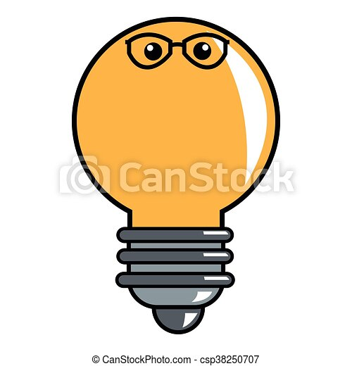 lightbulb with glasses icon - csp38250707