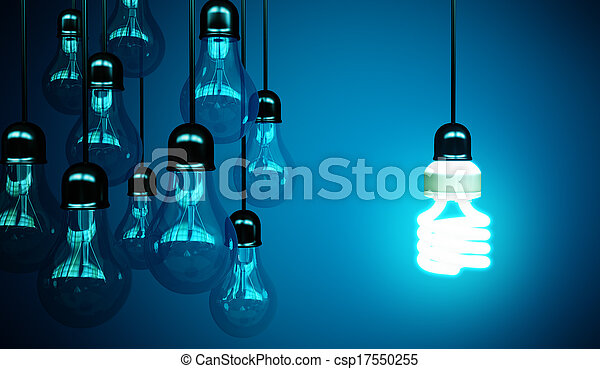 lightbulbs on blue - csp17550255