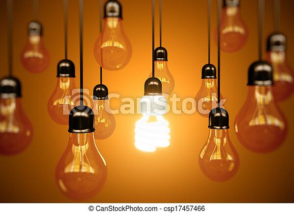 lightbulbs on yellow - csp17457466