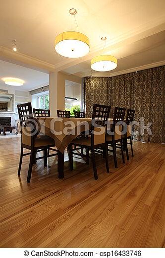Lighted dining room - csp16433746