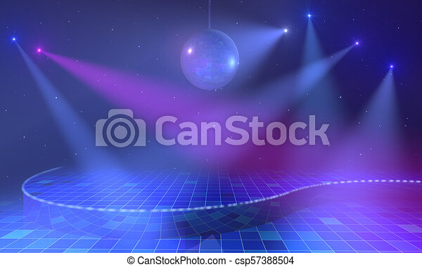 Lighted stage with discoball - csp57388504
