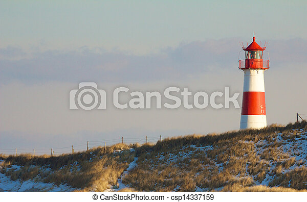 Lighthouse and dunes wide 2 - csp14337159
