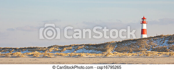 Lighthouse and dunes wide - csp16795265